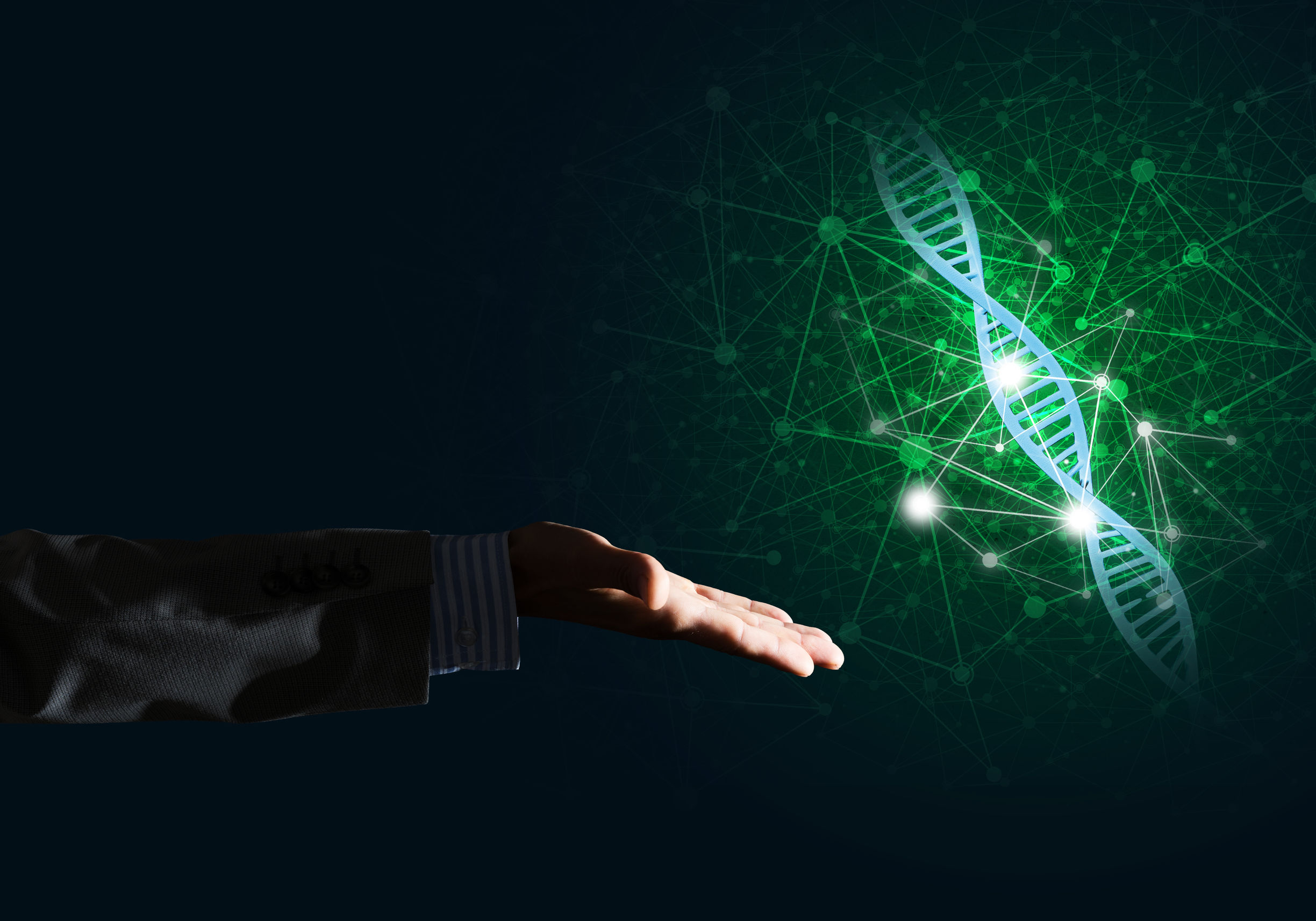Close of businessman hand presenting DNA molecule research as concept. 3D rendering